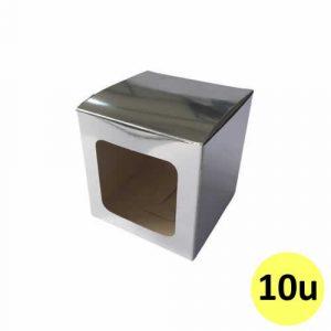 Caja plateada de cartón sublimable para taza con ventana